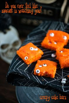 Candy eyeballs in a bowl of spaghetti-noodle brains means Halloween has arrived. When planning spooky, seasonal snacks, you can freak and delight your guests with delicious yet creepy cake bars. These orange-colored snacks include minimal sugar and fat, and they feature hair-raising edible eyeballs sitting on the cake surface. By following eBay's easy-to-follow recipe, you can indulge in these spook-tacular delights for your Halloween fest!
