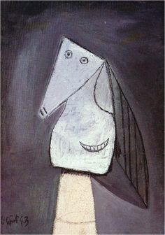 Head of a woman with green curls - Pablo Picasso - WikiPaintings.org