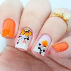 This post we have put together some nail art design ideas about the flower. You can refer to and choose to try and make your nails shiny. No matter the occasion, try one of the 50 cute nail designs below. Pretty Nail Art, Beautiful Nail Art, Gorgeous Nails, Fall Acrylic Nails, Acrylic Nail Designs, Nail Art Designs, Great Nails, My Nails, Ongles Forts