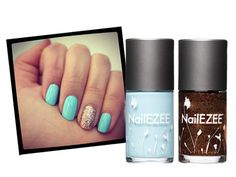 """This pastel-blue mani with a blingy copper accent on the ring finger is fun and unexpected. Need proof? It got over 115 repins! NailEzee """"A Little Bit of Heaven"""" and """"Lucky Penny"""", $10 each"""