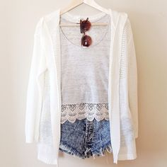 Simple. Crochet Trim Tank- #forever21 #f21xme Cardigan- #marshalls Highwaisted Shorts- #loveculture Sunglasses @sunglassspot #sunglassspot #Padgram