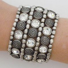 """Silver Beaded & Crystal Ethnic Stretch Cuff Perfect Details. $43.75. silver beads, embossed beads and crystals. brass, silver plated. 2"""" wide, fits most. stretch cuff"""