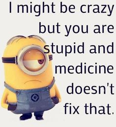 Medicine Doesn't Fix Stupid funny quotes quote funny quotes humor minions stupid minion quotes really funny quotes Minion Humour, Funny Minion Memes, Minions Quotes, Funny Jokes, Minion Sayings, Now Quotes, Cute Quotes, Minion Pictures, Funny Pictures