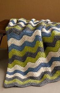 crochet afghan. colors. ripple pattern