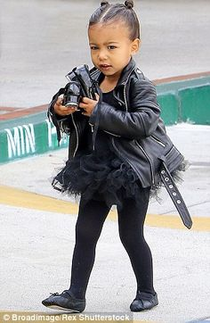 When North goes to tap and ballet class, she loves to rock custom-made Balmain blazers and black tutus teamed with leather jackets and Dr Martens