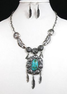Cowgirl Bling Southwestern Turquoise Squash Blossom Feathers Gypsy necklace set #Unbranded last one! $9.99 auction