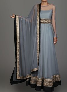 Light Grey and Black Embroidered Anarkali features a net anarkali with santoon inner, santoon bottom and net dupatta. Embroidery work is completed with zari, stone and lace embellishments. Pretty Outfits, Pretty Dresses, Beautiful Dresses, Beautiful Clothes, Look Fashion, Indian Fashion, Fashion Design, Fashion Men, Mode Bollywood