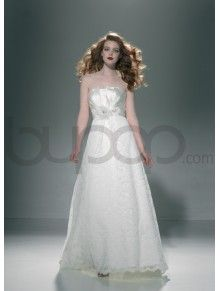 Raw Silk and Lace Attractive A-line Wedding Dress