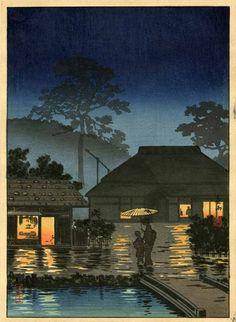 antique Japanese woodblock print Spring Rain by Tsuchiya Koitsu