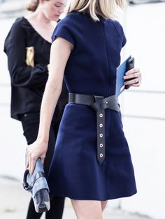belted blue dress #style #fashion #streetstyle