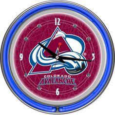 Colorado Avalanche Chrome Double Ring Neon Clock