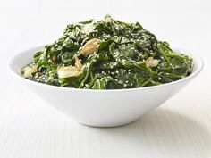 Garlic-Sesame Spinach : These flavorful greens take less than 10 minutes to make, start to finish. Add them to your next Asian-inspired menu.