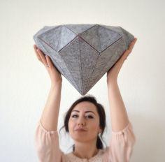 Felt Diamond Pillow by FaceAndEdges on Etsy