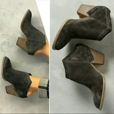 "New dolce vita haku mules booties anthracite grey Sold out everywhere brand new in box haku suede leather mule ankle boots in anthracite by dolce vita. Size 8.5. Blogger favorite! DV anthropologie exclusive charcoal gray carbon black color. No trades. Price FIRM. True to size - 1/2 size up A modern stacked-heel asymmetrical open heel bootie with a Western vibe. Slip on step in style shoes. Topstitched angles & exposed-staple overlay @ back. 3"" heel. Leather upper, synthetic textile lining…"