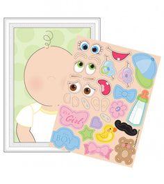 Lustiges Baby Shower Spiel für acht Gäste: Jeder Gast beklebt mit süßen Stickern ein Baby. Ob es später wohl so aussehen wird?