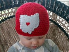 Heart of Ohio Hat Ohio State Crocheted Hat by EweniqueBoutique, $20.00