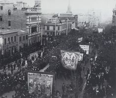 1888 International Exhibition opening day parade, east end of Collins Street, Melbourne, Australia