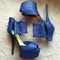 Blue Block Mesh Sandals Platform Blue mesh heels by Qupid, not JC. Tagging for exposure. Brand new never been worn cept to model. Size 9. All man made materials. Zipper back. No box. Jeffrey Campbell Shoes Heels