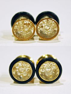 You know those pesky little bags of silica gel that you find in random pockets, places, and crevices? Well, now they're BEAUTIFUL jewelry in these gold-plated 00g 9mm plugs! Just remember: DO NOT EAT!