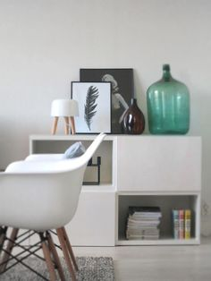 IKEA Besta Sideboard with asymmetrical doors. Via plateful of love