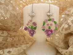 BASHFUL assemblage earrings vintage fresh spring flowers lilac roses shabby chic mismatched