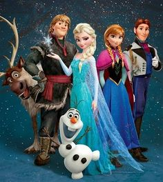 Frozen..Princesses Anna and Elsa; Prince Hans; Kristoff and his reindeer Sven; and Olaf the snowman.