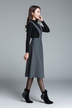 dark grey dress knee length dress skirt with pockets high