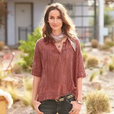 """TATE HENLEY--Open eyelet crochet with a tonal lace overlay and a frilly, scalloped hemline conspire to transform the classic henley. Cotton. Machine wash. Imported. Exclusive. Sizes XS (2), S (4 to 6), M (8 to 10), L (12 to 14), XL (16). Approx. 26""""L."""