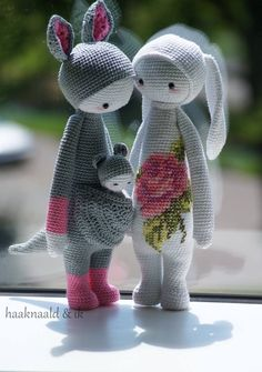Some unusual plush creatures… I love the idea of cross stitch on crochet! Made by LW Ona.