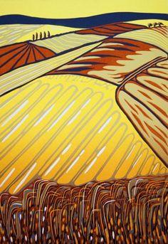 French Fields - linocut print - Cathy King, U.K.