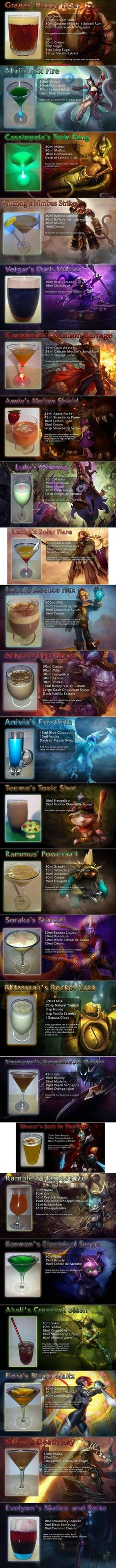 24 League Of Legends Drink Recipes | WeKnowMemes - have tried Gragas' Happy Hour - sweet but not sickly and highly potent! Woke with a tiny headache since it tasted like lolly water and I just downed it rather quickly - oops :)