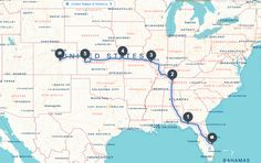 FL to CO : The Road Trip   2000miles 5 days 6 stops 8 states  # PCSFL2CO  Map via roadtrippers.com  We are less than a month out from our big move!! Where does the time go? I'm finally nailing down some of the details of how this trip will happen. Originally it was going to be a long trip up the east coast but after accepting a job offer and having a start date I knew that I wouldn't want to lolly gag around places we've already seen but actually head right for Colorado Springs to get…