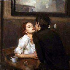 Ron Hicks, Cafe Kiss. Oli sobre tela, 30 x 40 cm.