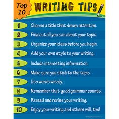 TOP 10 WRITING TIPS CHART
