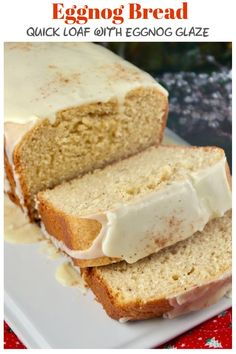 Holiday Eggnog Bread Eggnog Bread made with seasonal egg and milk beverage, and then topped with a flavorful glaze and sprinkled with nutmeg! This bread makes a delicious holiday gift or morning treat! Holiday Bread, Christmas Bread, Christmas Cooking, Holiday Baking, Christmas Snacks, How To Make Bread, Quick Bread, How To Make Dough, Baking Recipes