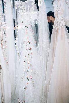 Ethereal Floral Details / Backstage at Reem Acra Fall 2015 Bridal / (instagram: the_lane)