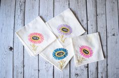 Time for Tea- Little Girl Vintage Napkin/Handkerchief Set of 4 Napkin, Tea Party, Little Girls, Art Prints, Unique Jewelry, Handmade Gifts, Inspiration, Etsy, Vintage