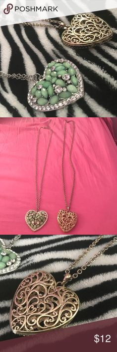 Gorgeous Heart Necklace Bundle One turquoise and rhinestone heart necklace with silver chain One gold heart necklace with gold chain (slightly discolored chain but not very noticeable- shown in photo) Jewelry Necklaces