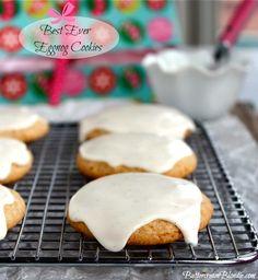Best Ever Eggnog Cookies tucked under a blanket of eggnog glaze! | ButtercreamBlondie.com