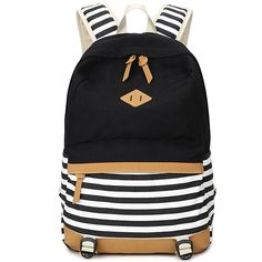 Preppy Stripe Canvas High-Quality Designer Comfortable Backpack 4 Colors