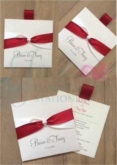 Red and Ivory two tome ribbon wallet invitation with pearl heart  www.jenshandcraftedstationery.co.uk  www.facebook.com/jenshandcraftedstationery Hand Made Wedding stationery: Save the date, Wedding invitations, Table Plans, Place Settings, Guest Books, Post Boxes, Menus, Table Numbers/Names