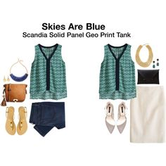Dear StitchFix -- I like v-necks and these colors. Skies are Blue Scandia Solid Panel Geo Print Tank