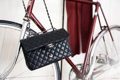 Bag, Chanel in Black, burgundy bicycle, burgundy dress