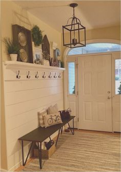 Shiplap entryway with hooks and bench! 2019 Shiplap entryway with hooks and bench! The post Shiplap entryway with hooks and bench! 2019 appeared first on Entryway Diy. Mudroom Storage Bench, Bench With Storage, Mudroom Benches, Home Renovation, Home Remodeling, Kitchen Remodeling, Flur Design, Home Projects, Living Room Decor