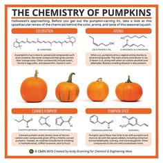 It's pumpkin season? Here is the chemistry makeup for pumpkin spice and all of your favorite pumpkins attributes via Chemical & Engineering News.