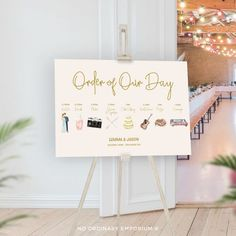 Timeline of Events Wedding Sign. A personalised order of the day sign to welcome your wedding guests.  #wedding #weddingsign #orderoftheday Order Of The Day Wedding, Our Wedding, Wedding Stuff, Warehouse Wedding, Wedding Timeline, Seating Chart Wedding, Table Cards, Make Design, Table Plans