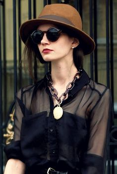Cool look...like the blouse and necklace...