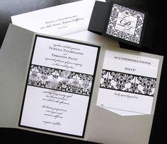 DIY Black and White Damask Pocket Folder Wedding by SandyPhotoArt, White Damask, Wedding Cakes, Wedding Ideas, Pocket, Black And White, Unique Jewelry, Handmade Gifts, Diy, Vintage