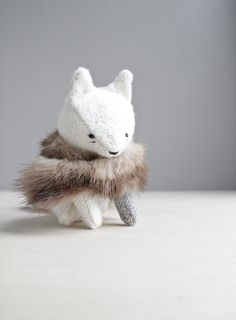 arctic fox / soft sculpture animal by ohalbatross on Etsy