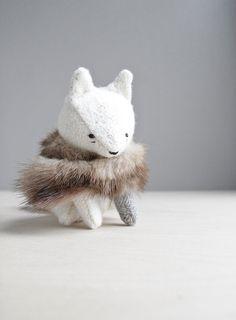 arctic fox / soft sculpture animal by ohalbatross on Etsy